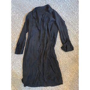 CP Shades linen button-down maxi shirt dress